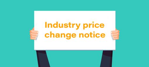 Industry price change notice
